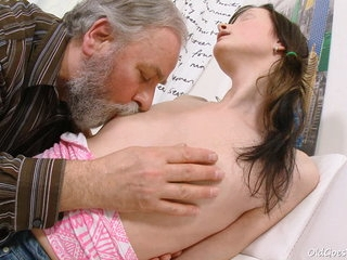 Jenya adores the attention she gets from this dirty old man. He ends up fucking this young babe.